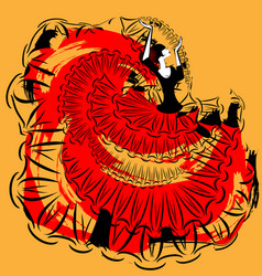 Abstract red-yellow image of flamenco vector