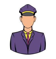Railroader in uniform icon icon cartoon vector