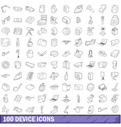 100 device icons set outline style vector