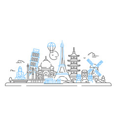 Countries - line travel vector