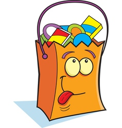 Cartoon trick or treat bag vector