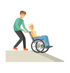 Disabled elderly woman in wheelchair smiling vector