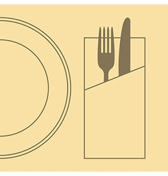 Knife fork plate and napkin vector image