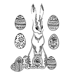 Ornamental easter rabbit with decorative eggs vector