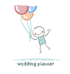 wedding planner flying with balloons vector image