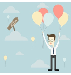 Businessman fly with balloon to success vector