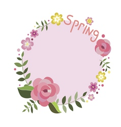 Floral spring frame with roses vector