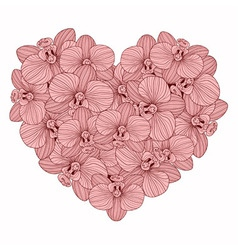 Orchid flowers heart composition vector