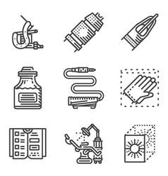 Black line icons for tattoo parlor vector