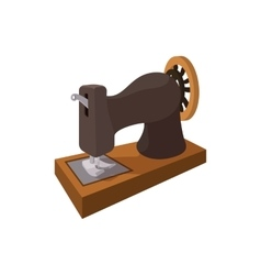 Black old sewing machine cartoon icon vector