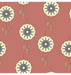 Seamless pattern with hand drawn dreamcatcher vector