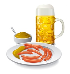 Beer and sausages with mustard vector
