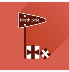 Flat icon with long shadow north pole vector