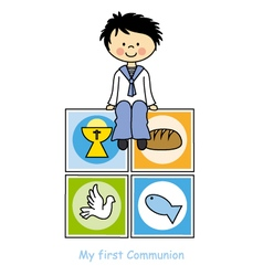 Boy First Communion card vector image vector image