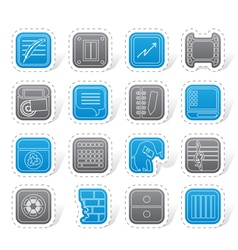 Business office and mobile phone icons vector