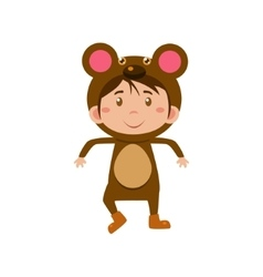 Child wearing costume of bear vector