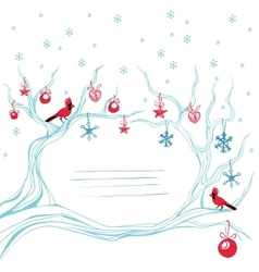 Christmas background cardinal bird brunch vector image vector image