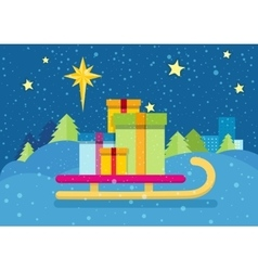 Christmas presents on sledge snowy background vector