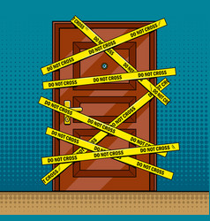 Crime scene door outline pop art vector