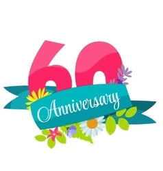 Cute Template 60 Years Anniversary Sign vector image