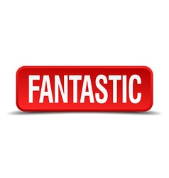 Fantastic red 3d square button isolated on white vector