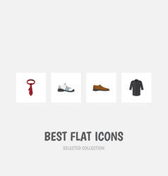 Flat icon clothes set of sneakers uniform male vector