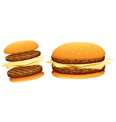 Hamburgers with beef and cheese vector