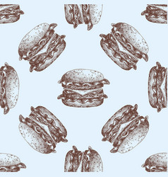 Hand drawn food sketch for menu seamless pattern vector