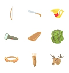 Hunting in forest icons set cartoon style vector
