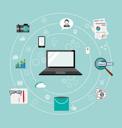 internet of things flat iconic vector image vector image