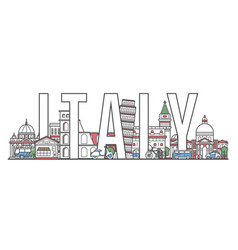 italy travel lettering in linear style vector image vector image