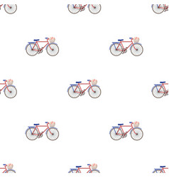 Pink bicycle with basket icon in cartoon style vector