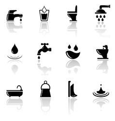 plumbing sanitary engineering icons set vector image vector image