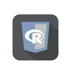 round icon of web shield with R letter vector image