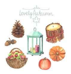Set of watercolor cute autumn elements vector