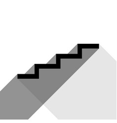 stair up sign black icon with two flat vector image vector image