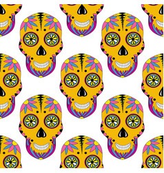 Sugar skull pattern with floral ornament mexican vector
