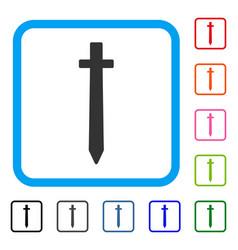symbolic sword framed icon vector image vector image