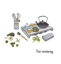 tea ceremony with various traditional elements vector image