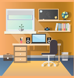 Teenage guy room with workplace vector