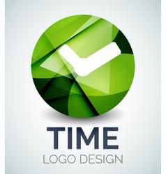 Time clock logo design made of color pieces vector