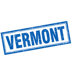 Vermont blue square grunge stamp on white vector