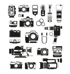video and photo cameras and different professional vector image vector image