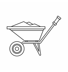 Wheelbarrow icon in outline style vector