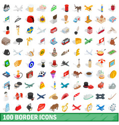 100 border icons set isometric 3d style vector