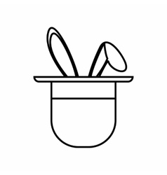 Magician hat with rabbit icon outline style vector