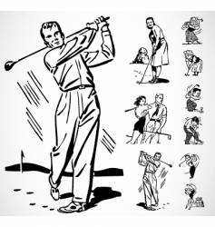 retro golf ornaments vector image
