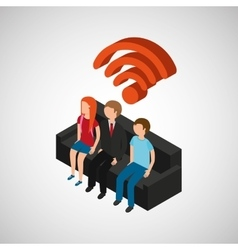 family house wifi connection tv vector image
