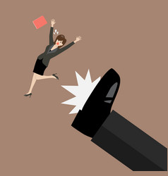 business woman kicked by her boss big foot vector image