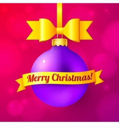 Violet Christmas ball with yellow ribbon and sign vector image